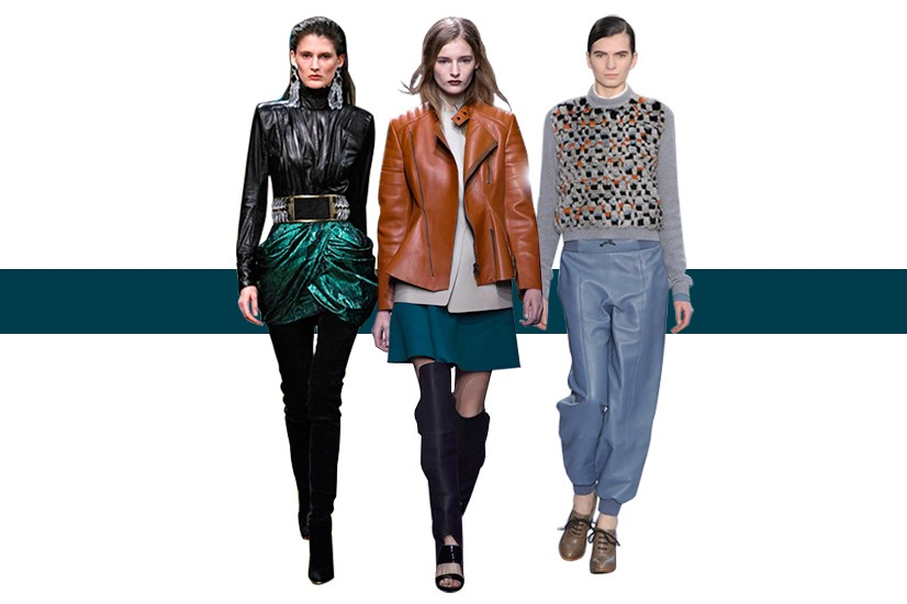 Leather continues to make a rock-star appearance on the runways and on the high street. The reinvention of the fabrication this season sees laser cut-outs and strapless bustiers for evening wear. For a laid-back daytime look, work pops of colour, leather baseball caps and oversized slouchy leather pants.