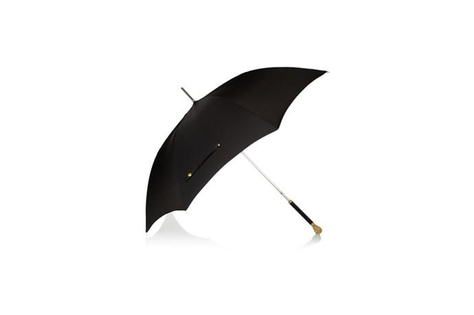 "Umbrella, $495, Alexander McQueen, <a href=""http://www.robbyingham.com"">robbyingham.com</a>"