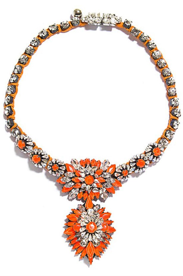 "Necklace, approx $710, Shourouk, <a href=""http://www.matchesfashion.com"">matchesfashion.com</a>"