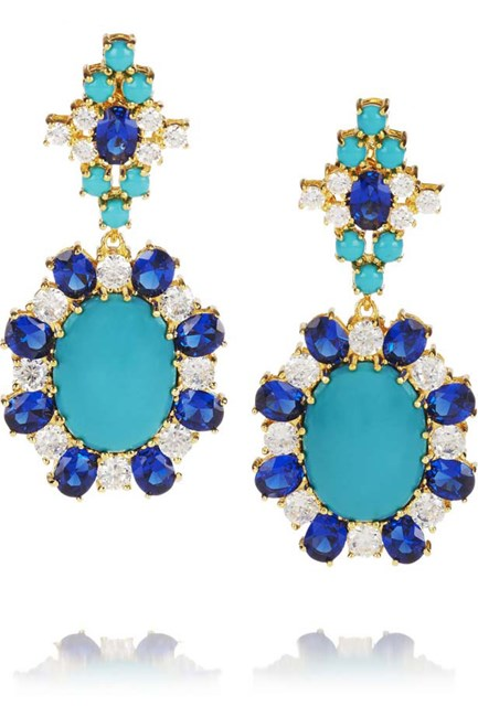 Earrings, approx $560, Kenneth Jay Lane. net-a-porter.com