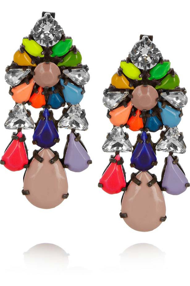 "Earrings, $595, Shourouk, <a href=""http://www.parlourx.com"">parlourx.com</a>"