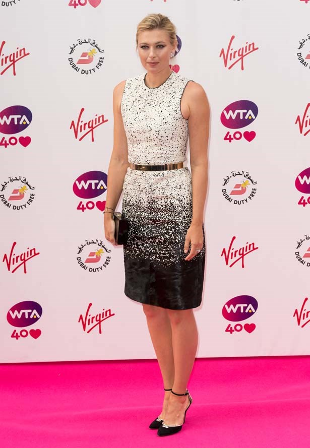 Maria Sharapova aces it in a neat-fitting sheath from Burberry Prorsum for the annual pre-Wimbledon party in London.