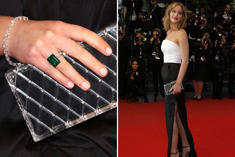 Jennifer Lawrence proves perspex clutches can also be timeless. Its quilted finish transforms her look into one that screams 50s Hollywood glamour.