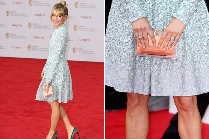 We believe Sienna Miller can do no wrong and this outfit reinforces that. By using the clutch to contrast her detailed dress, this look is the perfect balance of classic and modern.