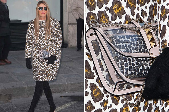 Fashion wildcard Anna Dello Russo teams her bag with OTT leopard. Transparent accessories allow you to wear loud prints without clashing – yet another benefit of the clutch.