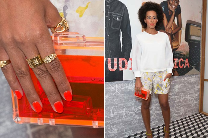 Repeat perspex-offender Solange Knowles took the fluoro option. It's an instant way to modernise an outfit – don't forget to team with matching nail polish for an eye-catching finish.