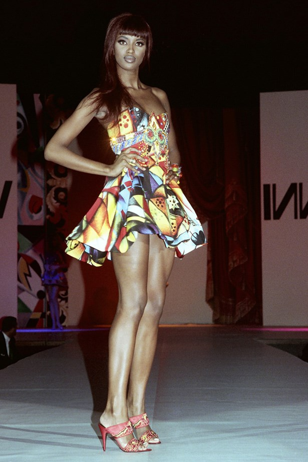 Naomi Campbell in Versace fashion show, Los Angeles, 1991.