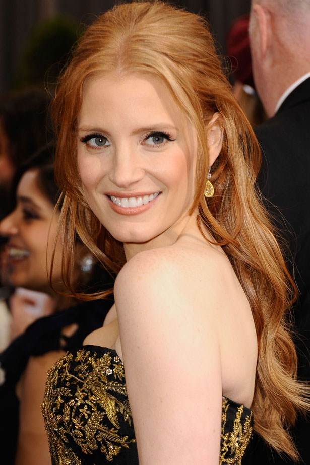 The soft strawberry-tinted red of Jessica Chastain's flowing curls means she makes a statement on the red carpet, no matter what she's wearing.