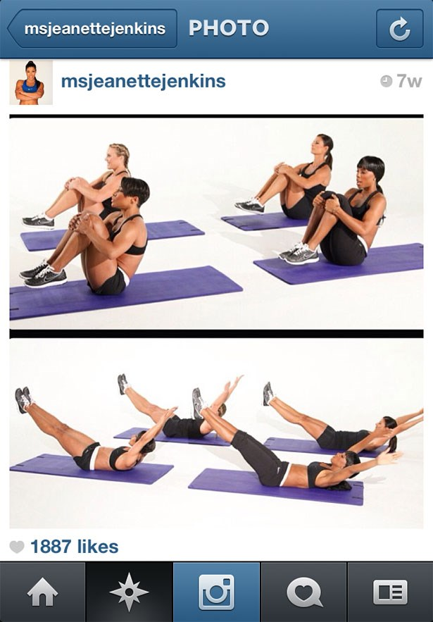 <strong>5. @msjeanettejenkins</strong><br> Jeanette Jenkins, celebrity trainer, nutritionist and founder of Hollywood Trainer Fitness Company, provides easy-to-follow Exercise Of The Day 'grams.