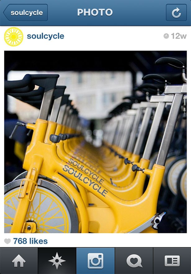 <strong>6. @soulcycle</strong><br> Warning: this Instagram feed may induce FOMO. But follow along anyway for a glimpse into the day-to-day workings of the super-popular boutique spin empire based in New York