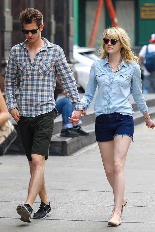 Forget the rules; pair your denim pieces in two different shades for an easy look, like actress Emma Stone.