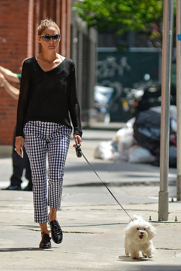 Life's a picnic-print for Olivia Palermo. The It-girl wore a pair of Banana Republic <i>Mad Men</i> Collection gingham cropped pants while out walking her dog in New York. The key to this look? Pairing her cross-print trousers with a simple black Juicy Couture top and Oxford shoes.