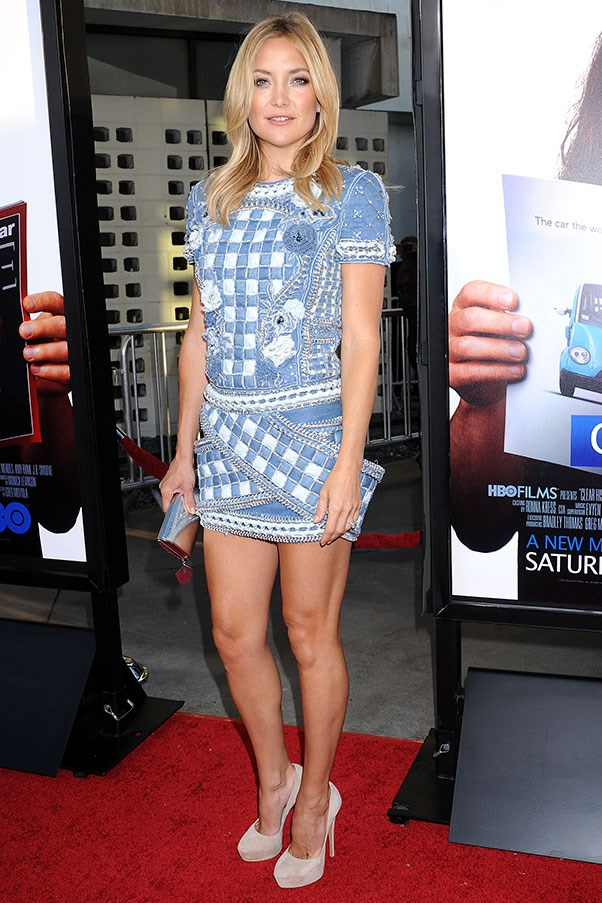 Kate Hudson demonstrates a gingham eveningwear look, courtesy of Balmain's Resort 14 collection.