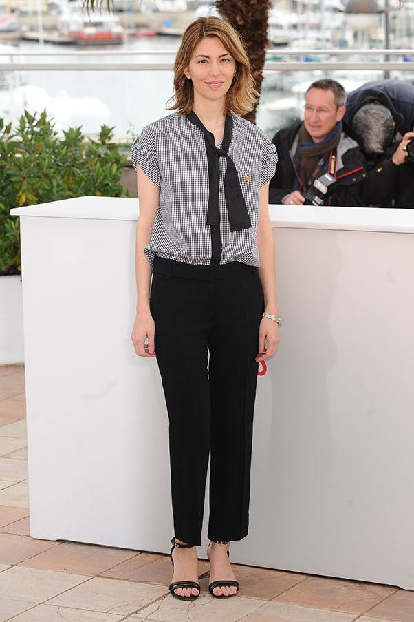 Sofia Coppola nails grown-up gingham in this classic Louis Vuitton shirt and black trousers combo. Oh la la …