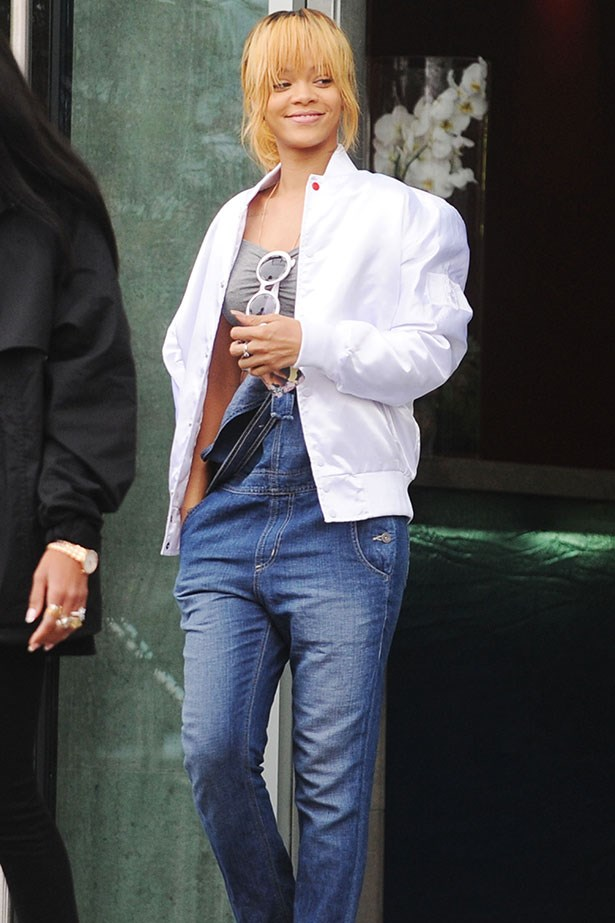 Take inspo from Rihanna and unbutton one strap for nonchalant cool.