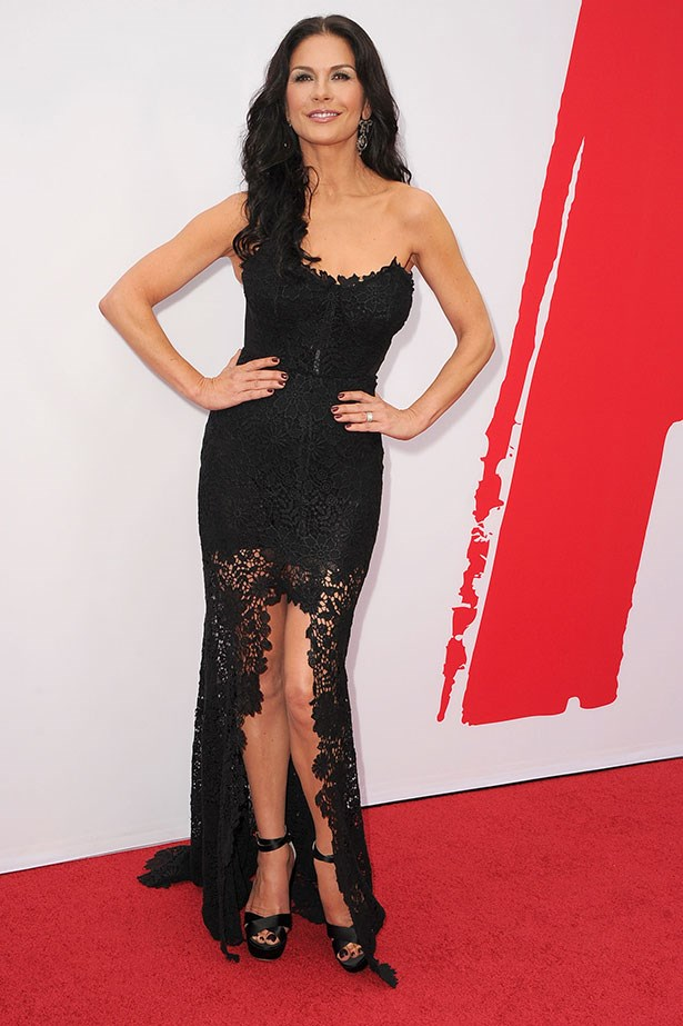You do the maths. The rise-and-fall hemline + sensual black lace = one <em>serious </em>LBD. Catherine Zeta-Jones embodies Old Hollywood in this Maria Lucia Hohan gown.