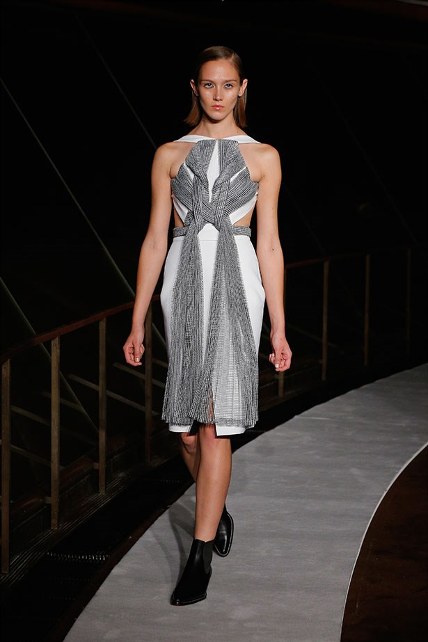 "<b>The show: Dion Lee</b><br> The look: Twisted and textured <br> Top pick: The design of the iconic Sydney Opera House ""sails"" was echoed in this collection. Case in point: this knotted number. Teamed with RM Williams boots, the collection couldn't have been more Australian."