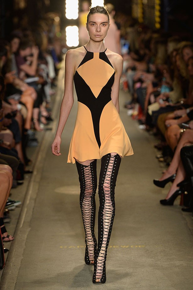 <b>Show: Alex Perry</b><br> The look: Expensive sex appeal <br> Top pick: Hemlines rose at the Alex Perry show, flaunting thigh-high boots. Not for the fashion faint-hearted, but if up for it, the risk would pay off.