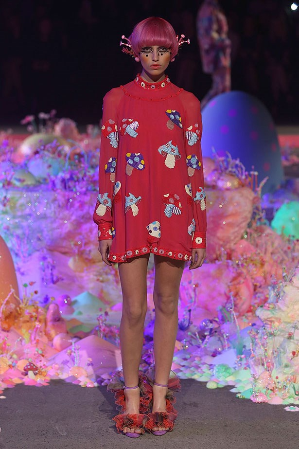 <b>The show: Romance Was Born</b><br> The look: Psychedelic chic <br> Top pick: While designers Anna Plunkett and Luke Sales erred on the side of fantasy, their collection also had many a wearable item. Our favourite? The 60s-style long-sleeve shift mini-dress with a mushroom print.