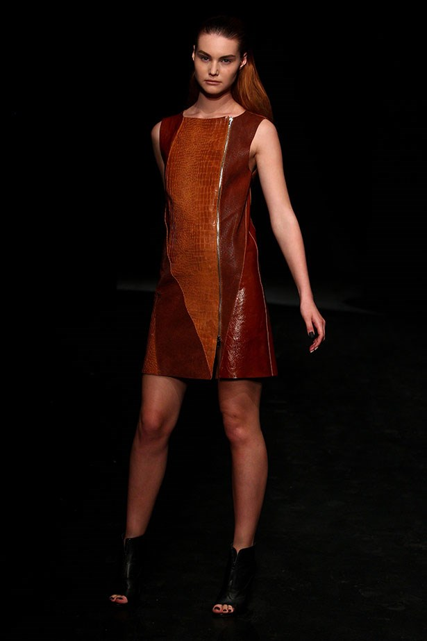 <b>Show: Kahlo</b><br> The look: I'm with the band <br> Top pick: Australia's go-to leather label did not disappoint. A nice switch from black, we loved the variety of the tan-toned fabrications, such as this zipped-up shift dress.