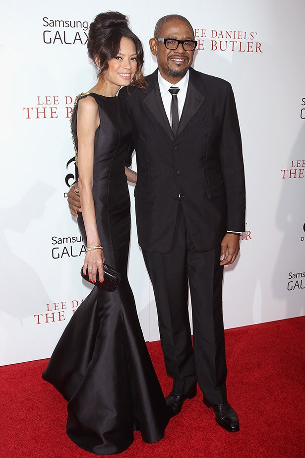 Keisha Whitaker accompanied her husband Forest Whitaker – who stars in the film – wearing a Badgley Mischka mermaid-style black gown.