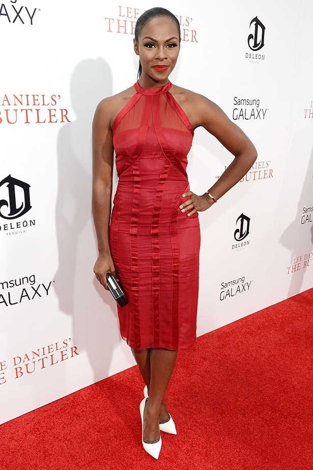 Tika Sumpter was red hot in an Alberta Ferretti cocktail dress.