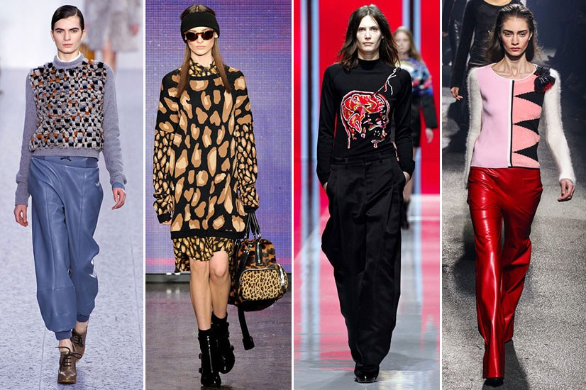Looks from left to right: Chloé AW13-14, DKNY AW13-14, Christopher Kane AW13-14, Sonia Rykiel AW13-14