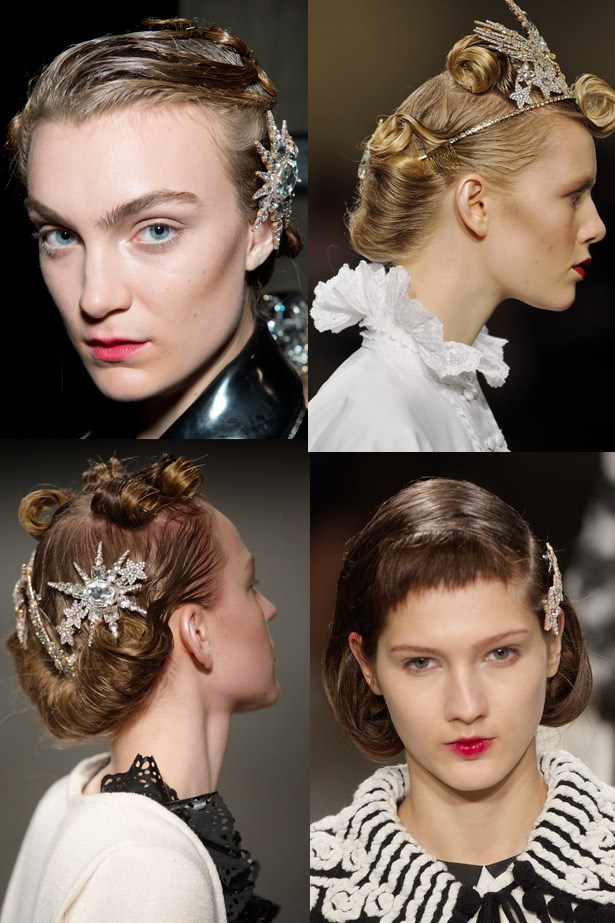 <strong>Take flight accessories</strong><br> Remember the humble butterfly clips you attached to all of your head? Of course you do… Hair accessories are still all that but the new version is all-grown-up. <br> <em>Runway: Meadham Kirchhoff AW13-14</em>