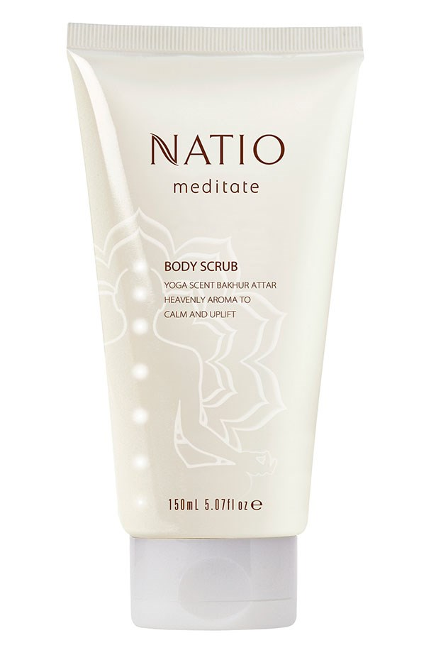 "Super smoothing: Walnut shell grains buff skin for a soft, smooth finish. Meditate Body Scrub, $18.95, Natio, <a href=""http://www.natio.com.au"">natio.com.au</a>"