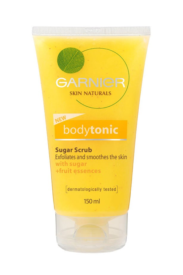 "Pharmacy favourite: A combo of natural fruit extracts and sugar gently dissolve flaky, dry patches. Bodytonic Sugar Scrub, $11.95, Garnier, <a href=""http://www.garnier.com.au"">garnier.com.au </a>"
