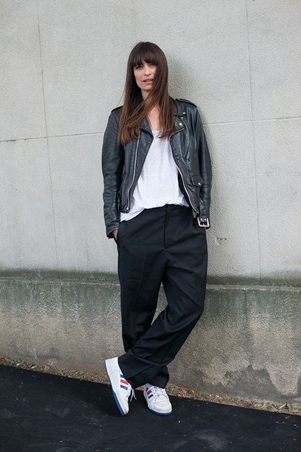 Caroline De Maigret Slouch like you mean it. Team trainers with tailored pants for an irreverent twist.