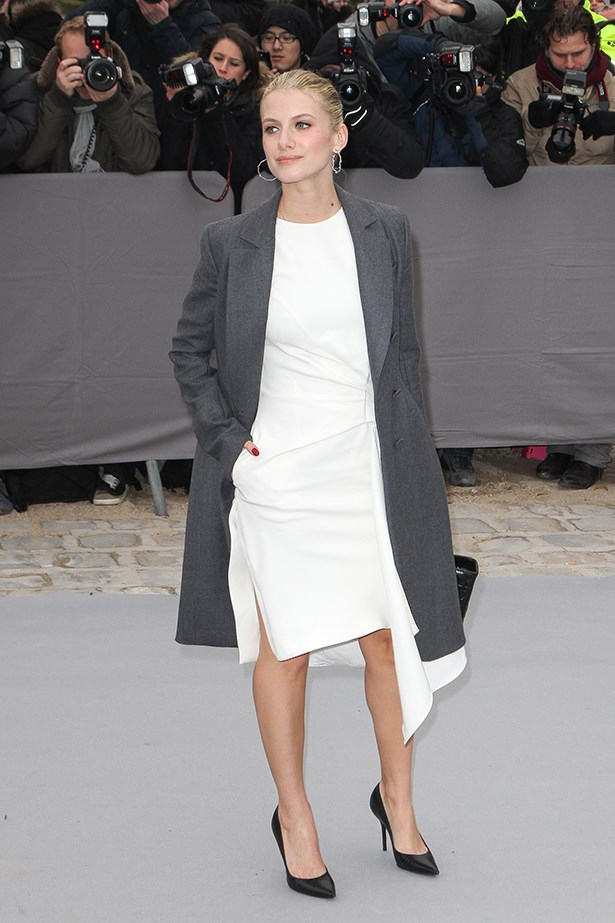 Melanie Laurent knows sometimes it's just about the pose. A hand in the pocket relaxes the most polished look.