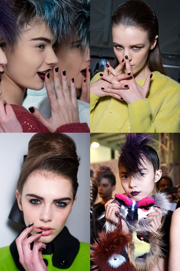 <strong>Gothic grab</strong><br> Be a rebel-with-a-cause and dip in to the dark nail polish trend and channel Uma Thurman's character Mia Wallace in <em>Pulp Fiction</em>.<br> <em>Runway: Elie Saab, PPQ, Fendi</em>