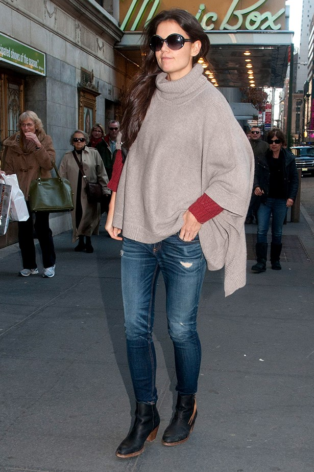 Katie Holmes alternates between her beloved Pistol and Dicker boots.