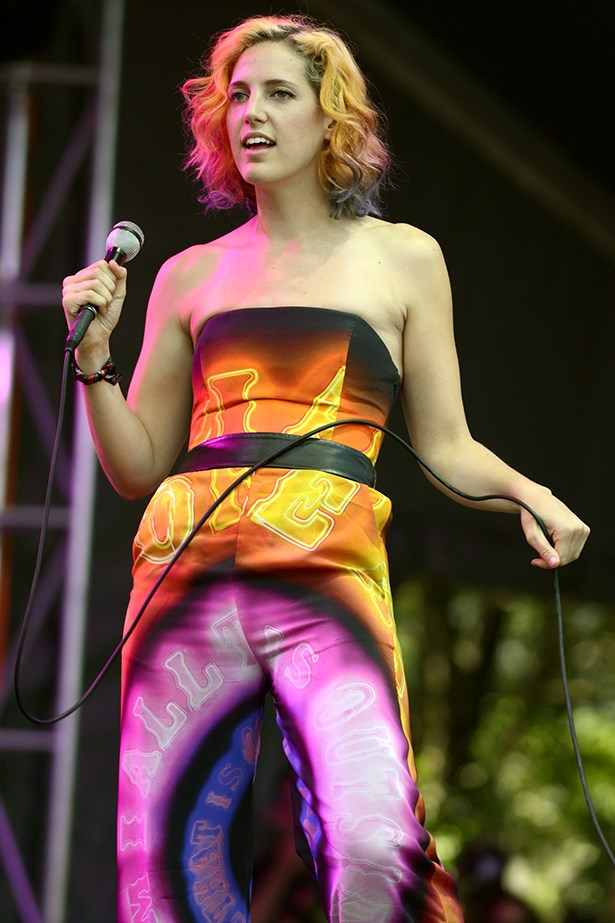 Lizzy Plapinger of MS MR went head-to-toe psychedelic. <em>Literally</em> – check out her hair!