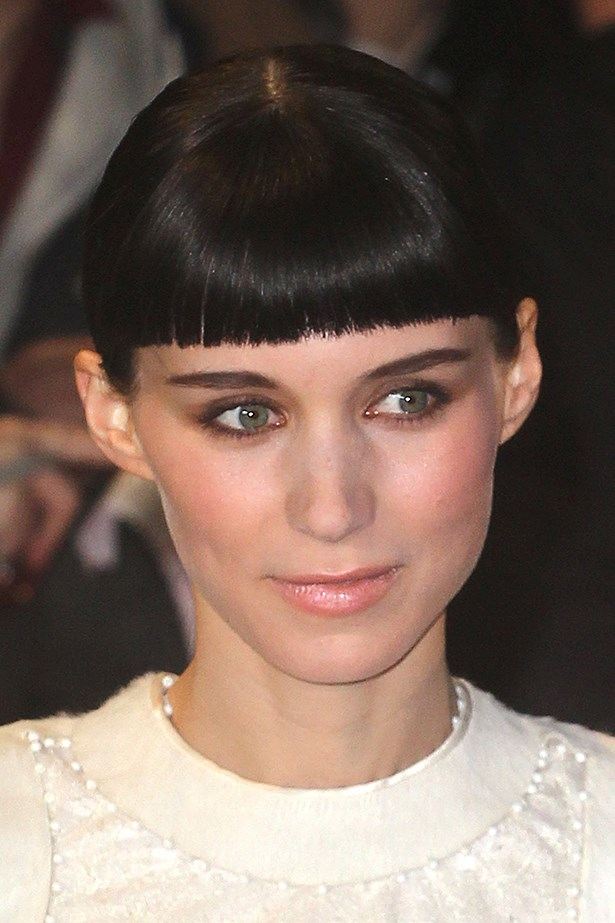 Wearing a blunt fringe at the London premiere of <em>The Girl With A Dragon Tattoo</em> in 2011.