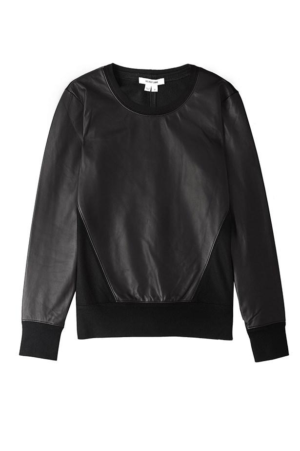 "Leather sweatshirt, approx. $500, Helmut Lang, <a href=""http://my-wardrobe.com"">my-wardrobe.com</a>"