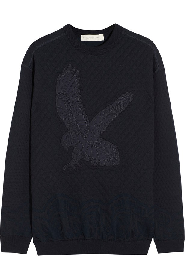 "Sweatshirt, approx. $850, Stella McCartney, <a href=""http://www.net-a-porter.com"">net-a-porter.com</a>"