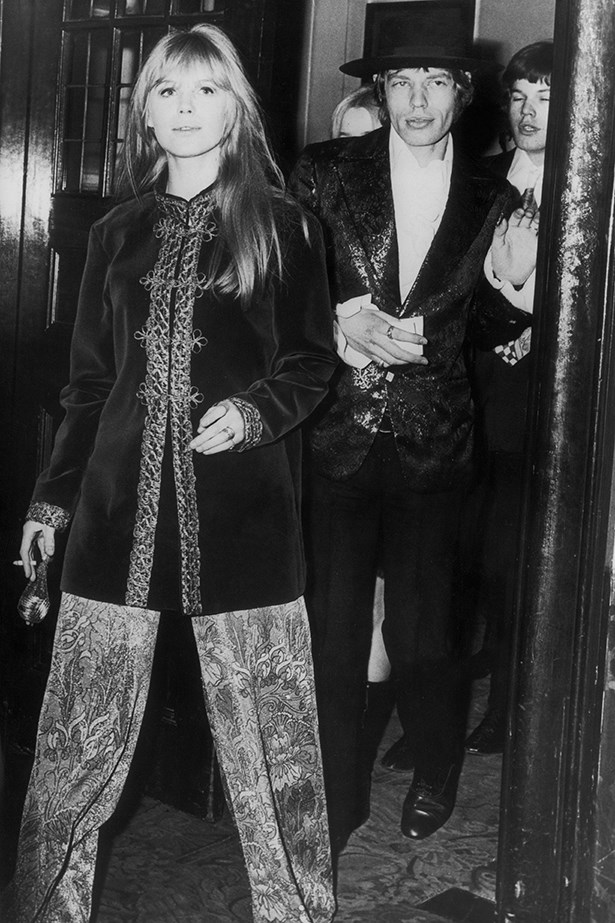 Marianne Faithfull with then-partner Mick Jagger – in full tribal regalia, of course.