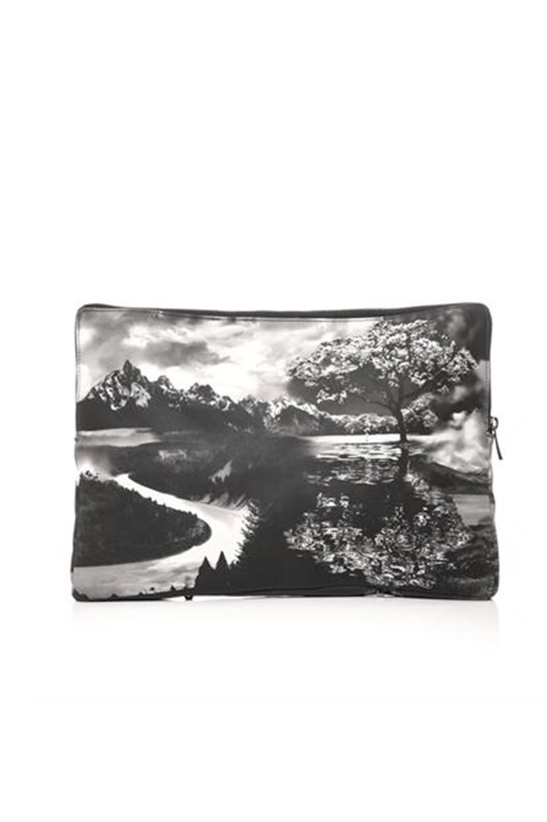 "Black and white purse, $765, Mary Katrantzou, <a href=""http://www.matchesfashion.com"">matchesfashion.com</a>"