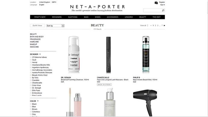 Add to cart: beauty from Net-A-Porter