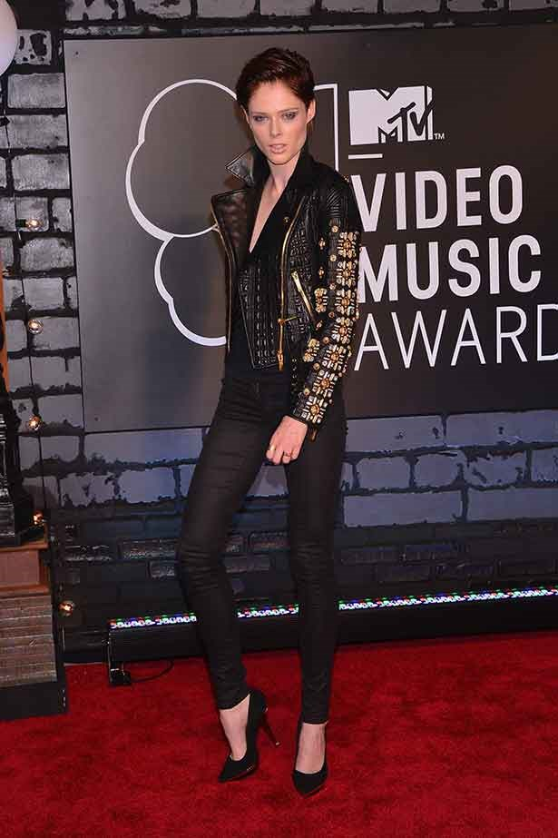 <strong>Lone rider</strong> <br> Model and reality TV host Coco Rocha bucked the red carpet trend and opted for sleek black jeans and a leather Fausto Puglisi biker jacket.