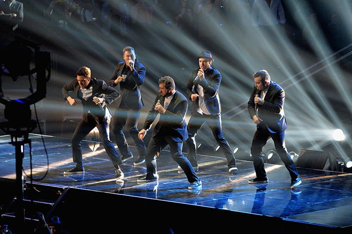 <strong>N'SYNC reunited</strong> <p>The first time in 10 years we've seen JT, Lance, Joey, Chris and JC belt out <em>Bye Bye Bye</em>. Enough said. </p>