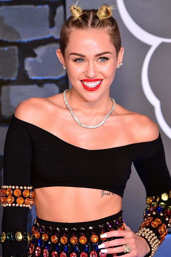 Miley Cyrus with mini buns