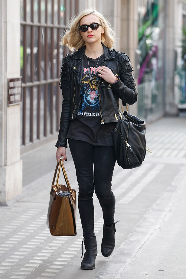Fearne Cotton channels the '80s in a leather jacket, pistol boots and red lip.