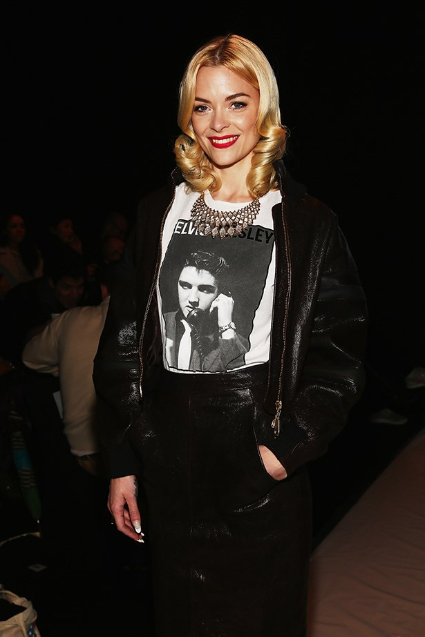 Jaime King glams up her Elvis tee with a statement necklace and glossy curls.