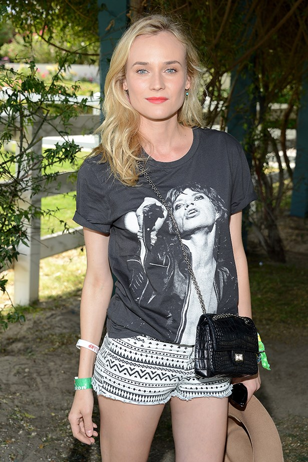 Diane Kruger pays homage to those lips – aka Mick Jagger – at Coachella.