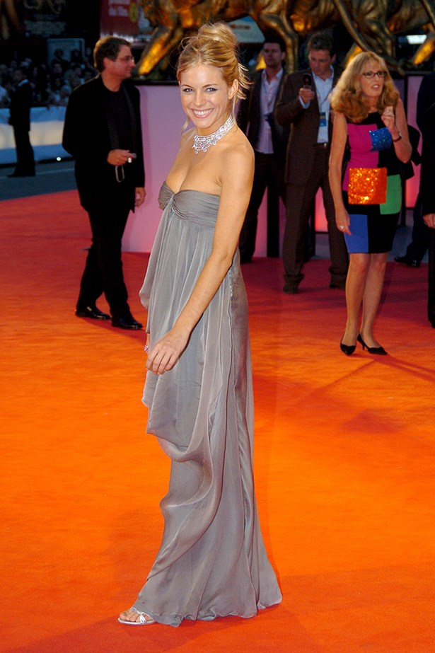 Oh, Sienna. This Christian Dior flowing gunmetal gown started a fashion love affair with the actress's bohemian style. Eight years later, it's still ranks in the Venice Film Festival hall of fame.