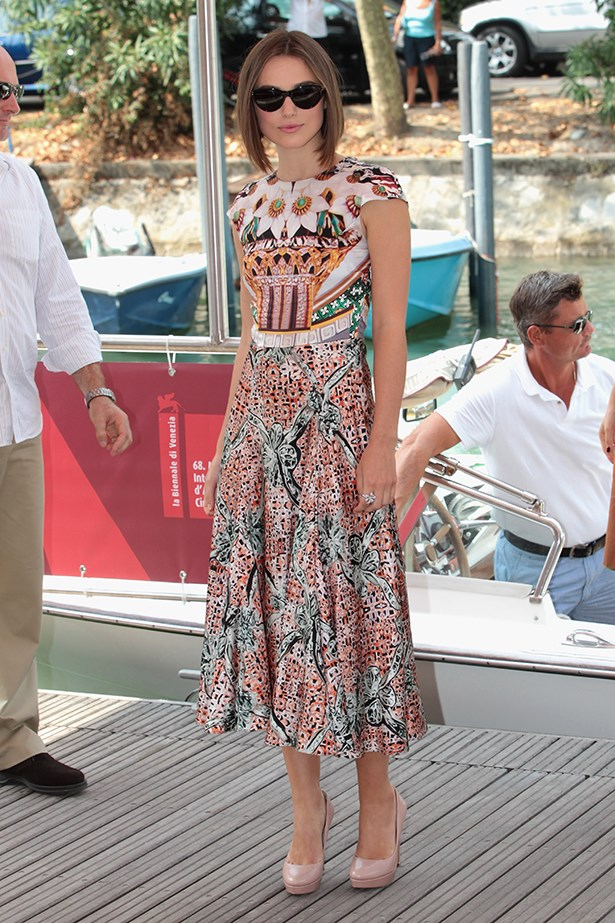 Who could forget Keira Knightley's grand entrance by boat to the 68th Venice Film Festival dressed in a feminine Mary Katrantzou frock and dark shades? This look went down in the fashion history books and helped catapult Katrantzou's quirky aesthetic into the limelight.