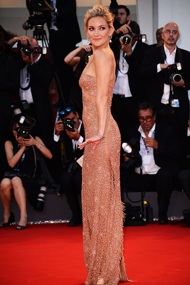Kate Hudson channelled old-Hollywood glamour in a beaded floor-length Atelier Versace dress in 2012.
